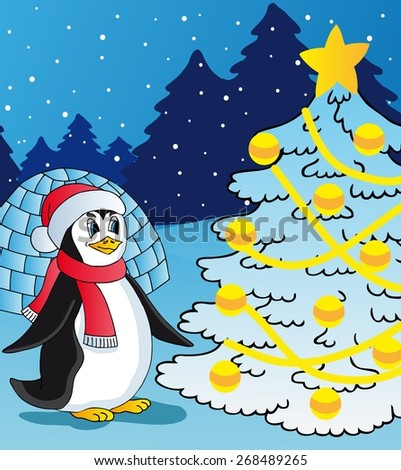Penguin and christmas tree - vector illustration.