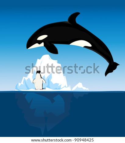 Penguin and killer whale background - stock vector