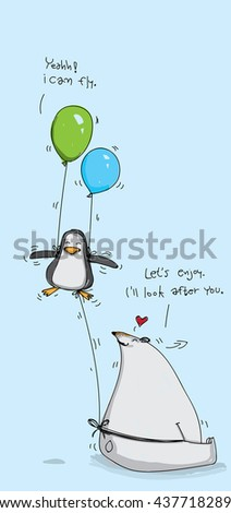 Penguin and Polar Bear Vector. - stock vector
