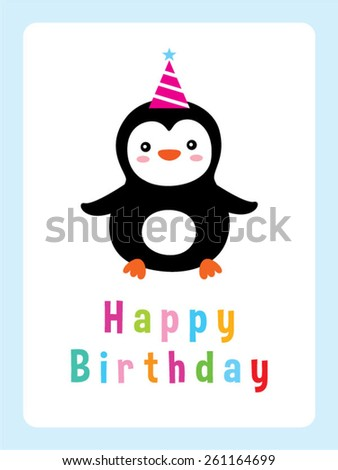 penguin birthday greeting card - stock vector