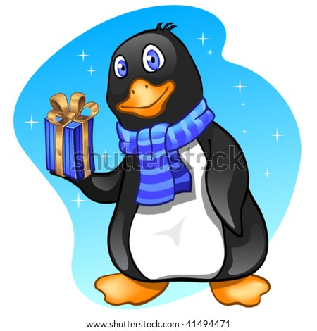 Penguin boy with present - stock vector
