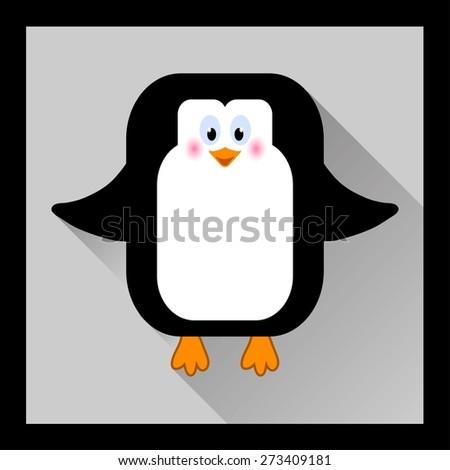 Penguin cartoon in flat style - vector illustration - stock vector