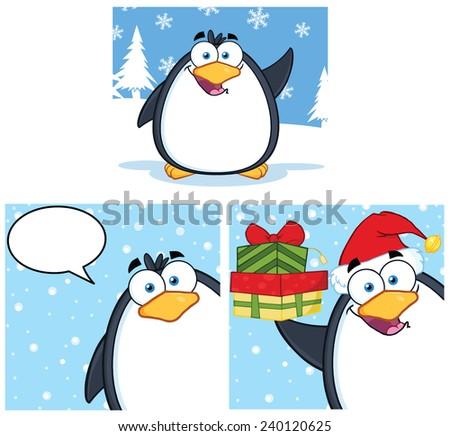 Penguin Cartoon Mascot Character. Vector Collection Set - stock vector