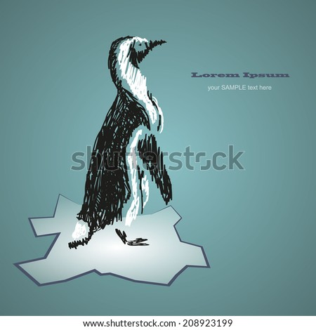Penguin drawing - stock vector