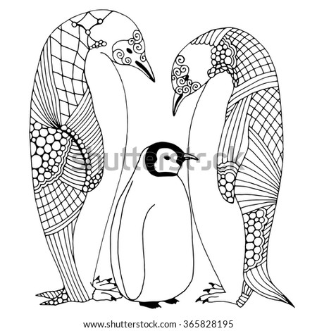 Penguin family doodle illustration - stock vector