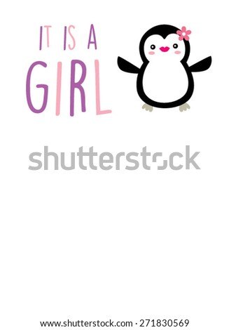 penguin girl arrival announcement card - stock vector