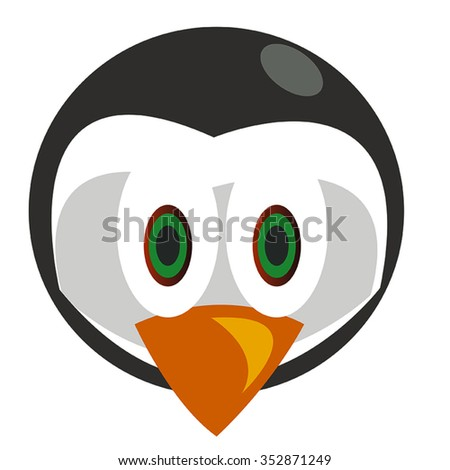 Penguin Head Black and White With Big Eyes and Beak Cartoon Vector - stock vector