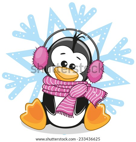 Penguin in a fur headphones on the background of snowflake  - stock vector