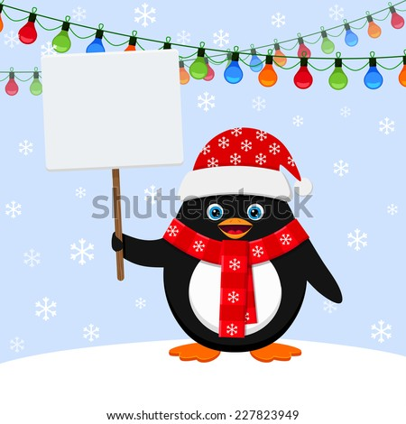 Penguin in red hat with blank banner - stock vector