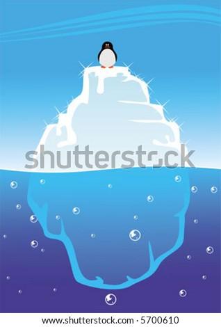 penguin on iceberg - stock vector