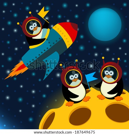 penguin on moon - vector illustration  - stock vector