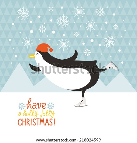 penguin skates - stock vector