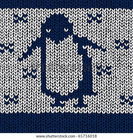 penguin, vector jumper pattern - stock vector