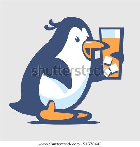 Penguin with juice - stock vector