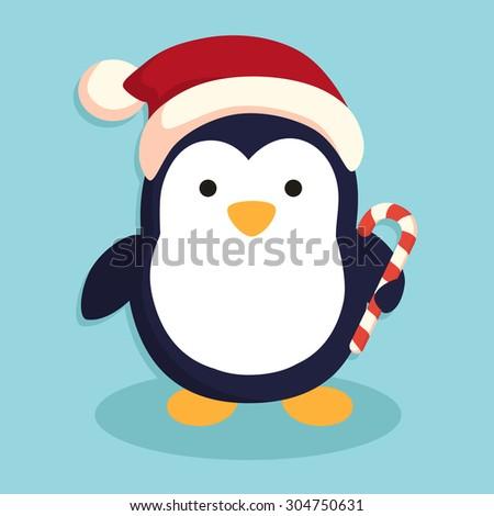 Penguin with Santa Hat - stock vector