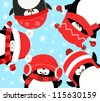 Penguins Celebrating Christmas - stock vector