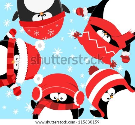Penguins Celebrating Christmas - stock vector