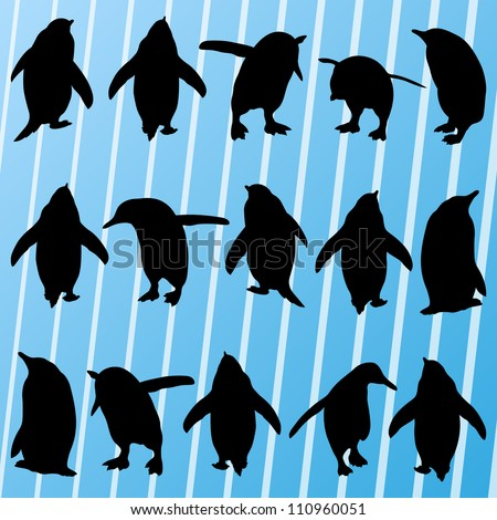Penguins detailed silhouettes illustration collection background vector - stock vector