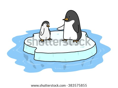 Penguins On Ice, a hand drawn vector illustration of two cute penguins standing on a floating iceberg, all objects are on separate groups for easy editing. - stock vector
