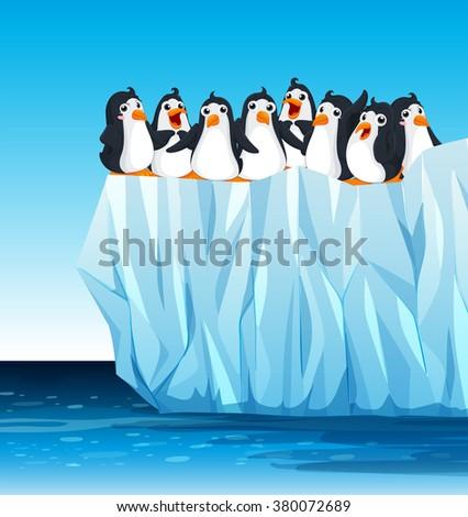 Penguins standing on iceberg illustration - stock vector