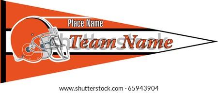 pennant Football team orenge black - stock vector