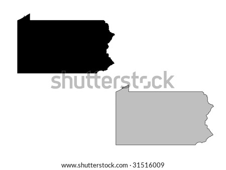 Pennsylvania map. Black and white. Mercator projection. - stock vector