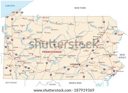 pennsylvania road map - stock vector