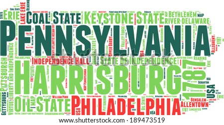Pennsylvania USA state map vector tag cloud illustration - stock vector
