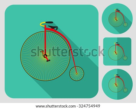 Penny farthing bike icon. Flat long shadow design. Bicycle icons series. - stock vector