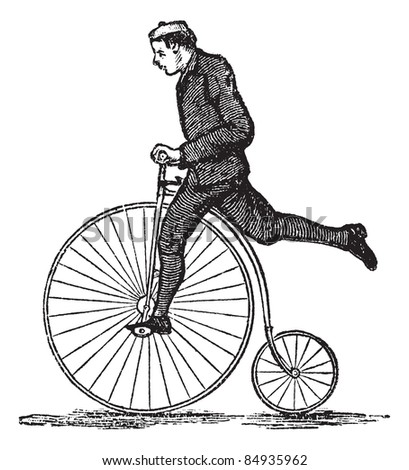Penny-farthing or High Wheel Bicycle, showing how to dismount the bicycle by stepping on the pedal and then raising the other leg over the rear. Trousset encyclopedia (1886 - 1891). - stock vector