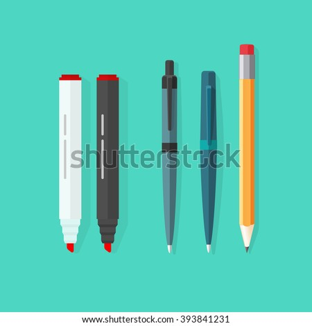 Pens, pencil, markers vector set isolated on green background, ballpoint pens, lead orange dot pen with red rubber eraser, flat biro pen and pencils, stationery set cartoon illustration design - stock vector