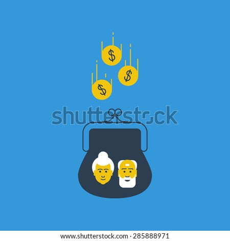 Pension savings. Bank account interest. Future thinking. Wealthy aged couple. - stock vector