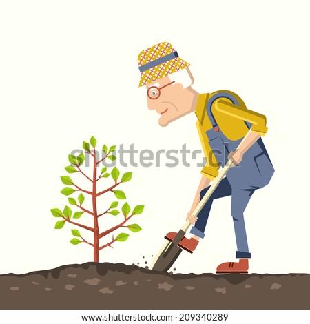 pensioner plant a tree in a garden.Vector illustration of gardener with shovel - stock vector