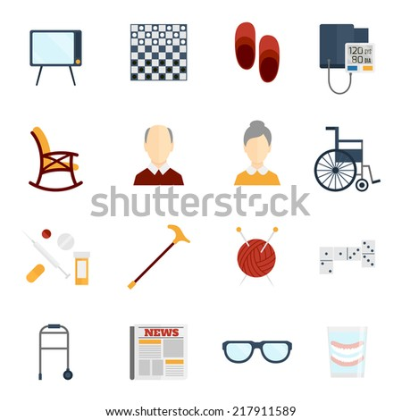 Pensioners life old man care icons flat set isolated vector illustration. - stock vector