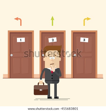 Pensive businessman or manager standing in front of the doors. Select a destination. A man in a business suit. Movement choise. Cartoon flat vector illustration in modern style. - stock vector