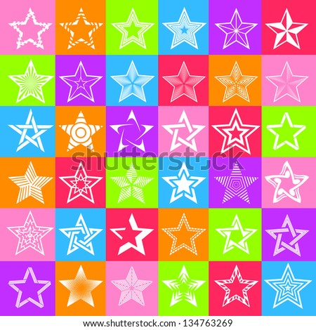 Pentagonal five point star collection of thirty six colorful emblem icon design elements, eps10 vector template set
