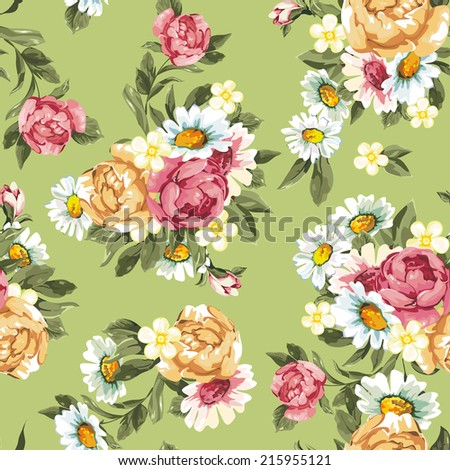 Peonies on a green background, pattern seamless. Elegance vector illustration - stock vector