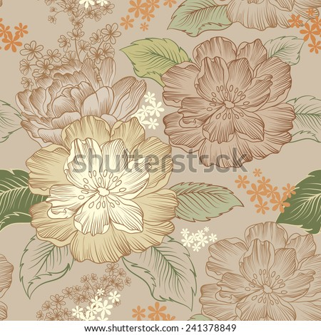 Peonies, seamless pattern. Vintage style - stock vector