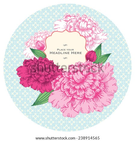 peony emblem template vector/illustration - stock vector