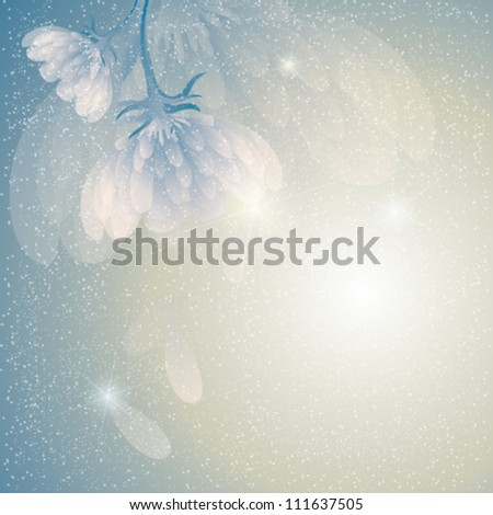 Peony in snow / Fairy floral background - stock vector