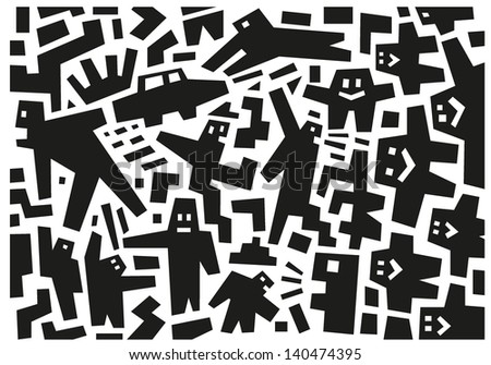 people - abstract vector illustration - stock vector