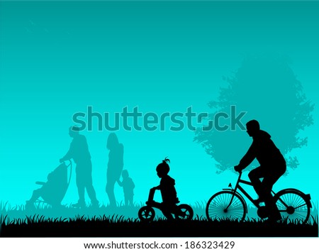 People actively spending time - stock vector