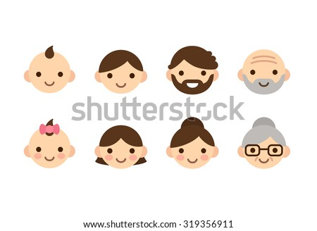 People ages icons, male and female, from young to old. Cute and simple flat con set.  - stock vector