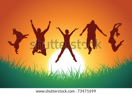 people and a dog jumping in the background of sunset and grass silhouette, vector - stock vector