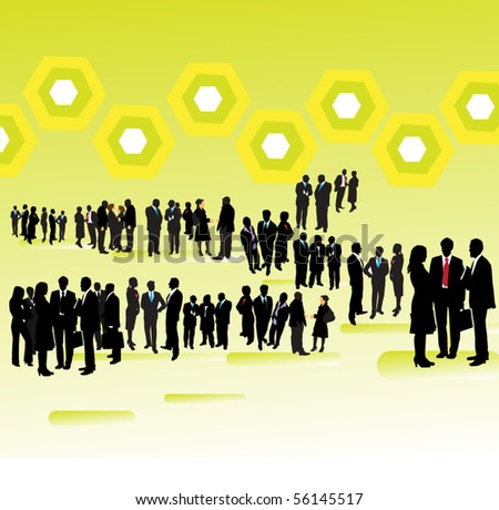 People and abstract background - stock vector