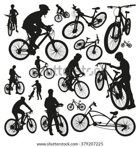 People and Bicycles Silhouettes - stock vector