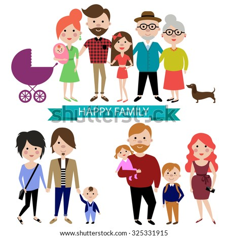 People and big happy family portrait. Parents with Children. Father, mother, kids, grandpa, grandma and dog.  Vector flat design. Trendy graphic cartoon simple style. Colorful illustration - stock vector