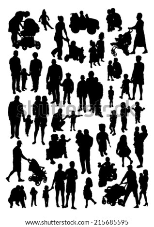 People and Children Silhouettes Set - stock vector