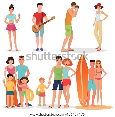 People and couples on vacation beach party collection. Summer holidays set. Beach people relaxing, beach sport activities, summer beach people couple group together, beach pople vacation collection - stock vector
