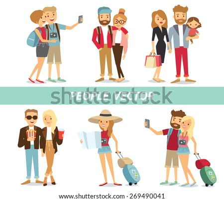 people and couples travelling and having a rest - stock vector
